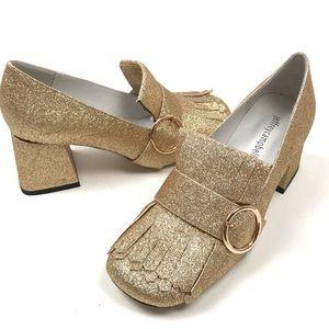 Jeffrey Campbell Bernice gold glitter loafers